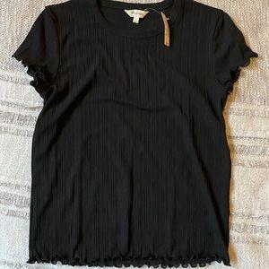 Madewell ruffled black t shirt small NWT